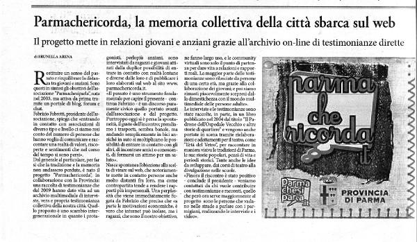 La Sera di Parma - Parmachericorda, la memoria collettiva della città sbarca sul web